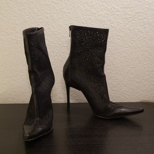 Casadei Lace Leather Stiletto Point Boots Black 7